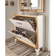 2 drawers wooden cabinet 2 doors rotating shoe rack