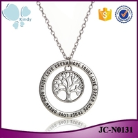 Online shop China wholesale zinc alloy lettering circle necklace tree of life pendant