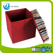 Custom style cube red color film non woven and composite cardboard folding storage box with lid