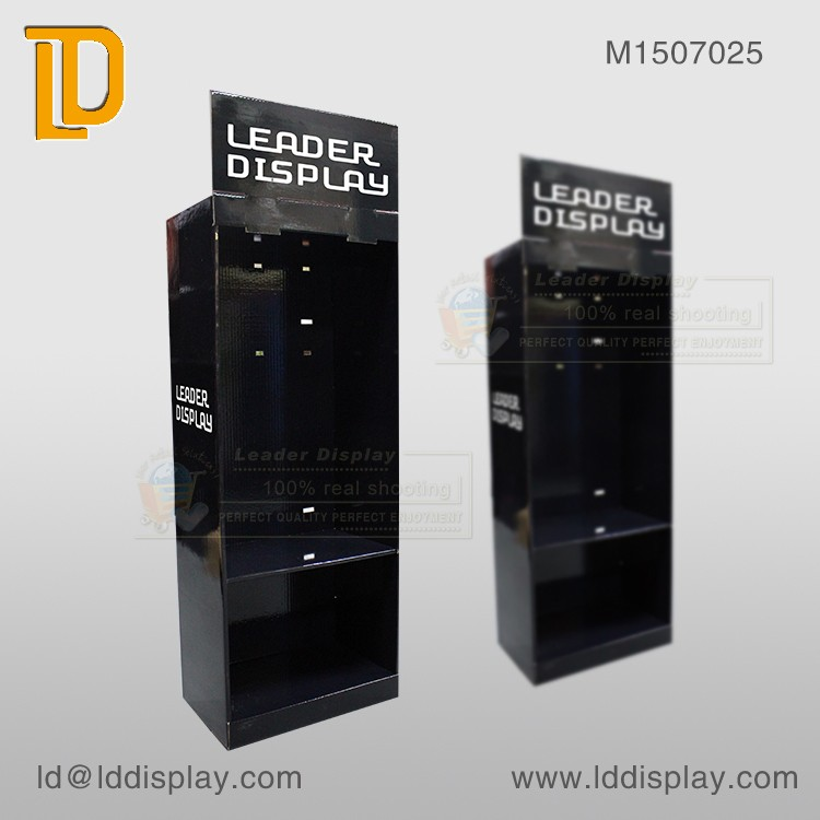 Customized corrugated black hooks cardboard stand for vary products retails