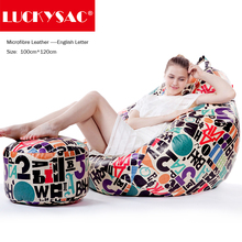 LUCKYSAC Supply English Letter Pattern Unfilled Bean Bags Covers European Style Beans Bag Chair Cover