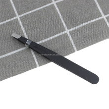 Slanted tip black color stainless steel eyebrow tweezers