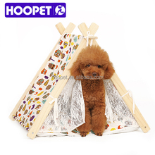 2016 Hoopet new arrival Foldable wooden pet bed portable princess pet tent bed with removable cushion cat delivery room