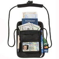 High Quality Secure Rfid Nylon Travel Neck Pouch Wallet with pen holder