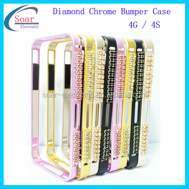 2014 deff cleave Aluminium Metal diamond Bumper case cover for iphone 4