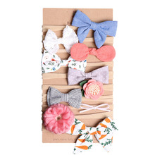 Wholesale Custom Elastic Children Bowknot Fashion Hair Accessories Colorful Birthday Party Baby Flower Kids Hairband