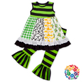 Children Girls St Patrick Day Green Two Pieces Sleeveless Top Ruffle Outfits