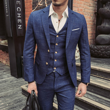 Wedding Formal Wear Suits Blazer Men Good Quality Blue Plaid Suits Fashion Male Formal Dress Suits Blazer Jackets+Pants+Vest