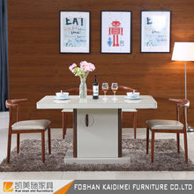 MDF top rubberwood frame modern design tempered glass dining table
