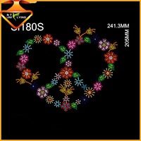 Wholesale heart design hotfix motifs strass rhinestone transfer