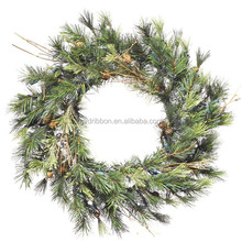 18 Inch Iced Decorated Sections Christmas Nature Pinecone /PVC wreath with berry