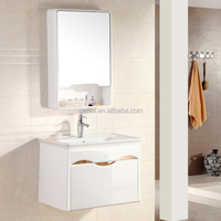 Elegance design foshan PVC material bathroom cabinet basin with mirror