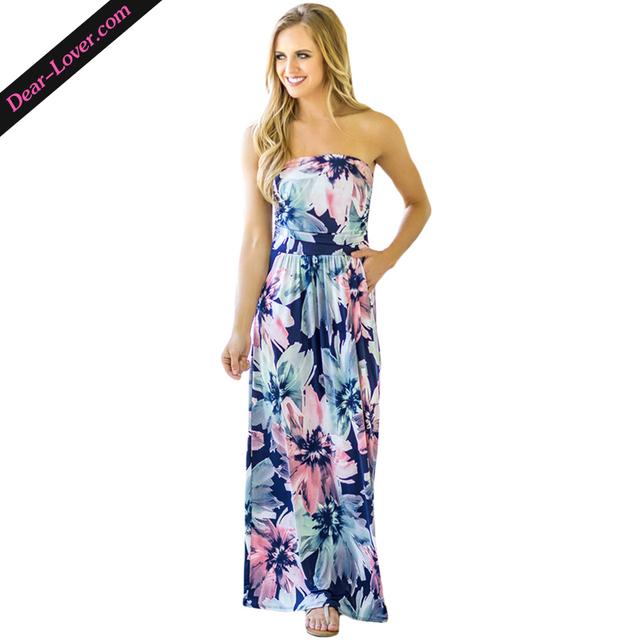 Sleeveless Summer Flower Print Strapless Maxi Long Dresses with Pockets