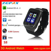 Smart celular Android 3G Watch Phone With Fashion Design Body and WIFI S8 ZGPAX