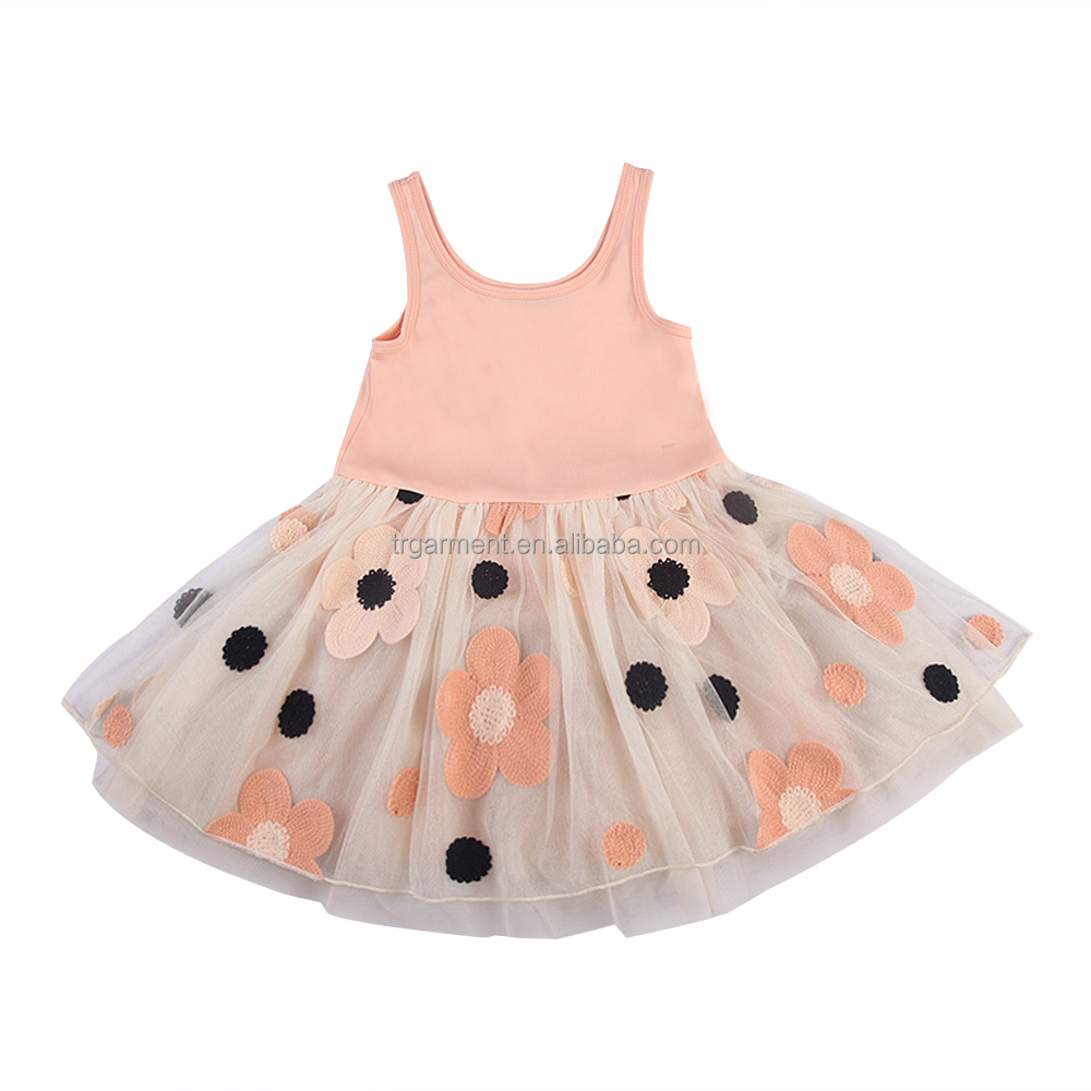 OEM service kids 3d floral dance skirts sweet stripes kids prom skirt