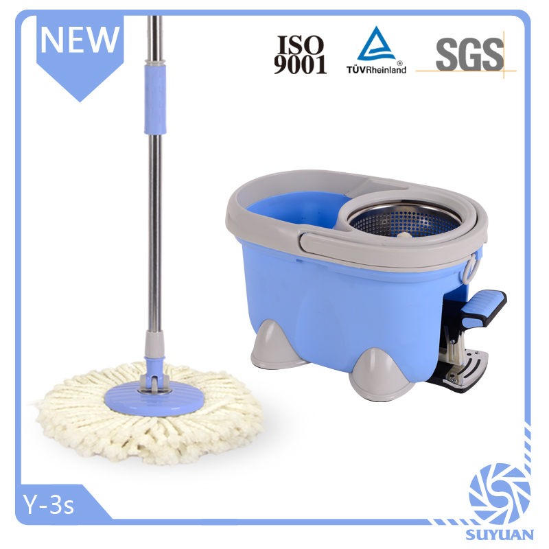 Stainless Steel Basket Microfiber Spin Mop