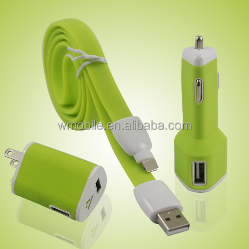 For iPhone5/6/6P 3 in 1 set EU plug travel charger + home wall car charger + USB sync cable for mobile phones