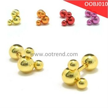 Yellow Earring piercing by stainless steel 316L material,4 color for being choosen