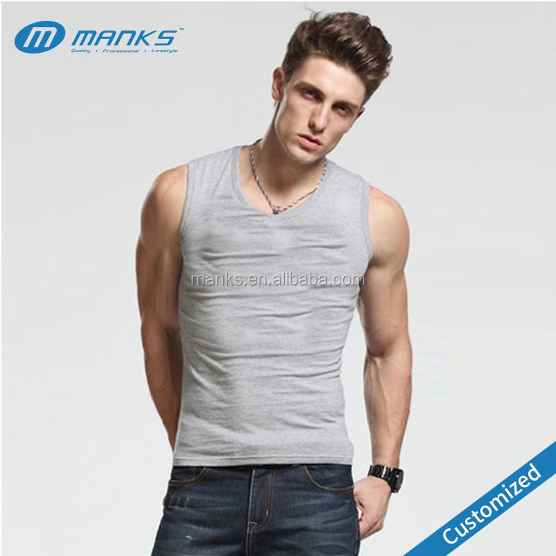 Custom Made Men's 92% Cotton and 8% Spandex Summer Fitness Tank Tops