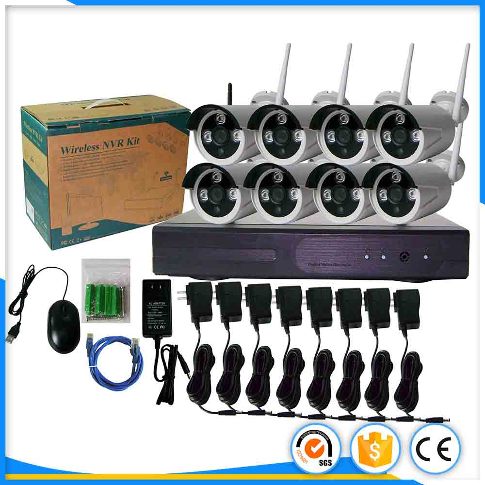 720P Wireless NVR System P2P HD Outdoor IR CUT Security IP Camera 8ch wifi nvr kit CCTV