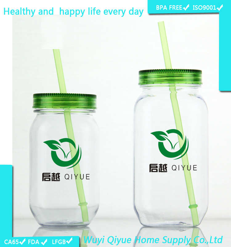 new product for 2015 16 oz plastic drinking mason jar with lid and straw