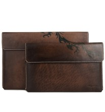Waxing color style brown color vegeteable tanned leather cases for Ipad Air/mini...