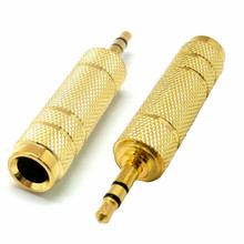 "Gilded 3.5mm 1/8"" Male to 6.35mm 1/4"" Female Stereo Headphone Plug Audio Adapter AC Jack Connector"