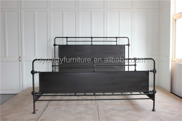 2016 hot sale latest simple metal frame double iron bed designs