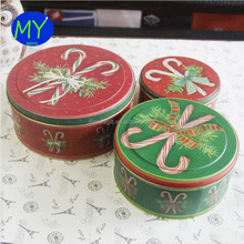 Christmas packaging can round frosted tin can with food grade for export