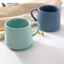 Custom LOGO Colored Ceramic 11oz Blue Espresso Cups 320ml Green Coffee Mugs