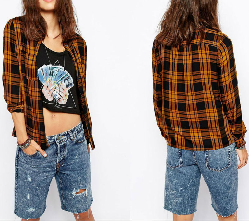 2016 Custom Made Women Checked Shirt Long Sleeve Brand