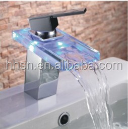 HH6608 Single Handle Color Changing LED Waterfall Bathroom Sink Faucet