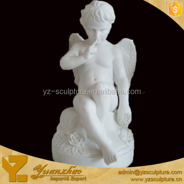 life size stone carving nude child boy cupid Statue for garden decoration