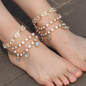 Sandal Women Jewelry Gift Summer Fashion Rhinestone Crystal Gold Arm