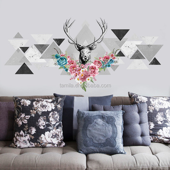 New arrival sika deer wall sticker wholesale PVC diy wall sticker