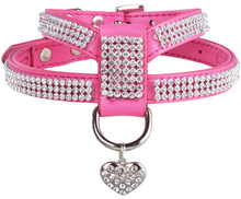 Factory OEM Pet products Pink Dog Harness Pet Luxury Rhinestone Leather Vest with a Heart Pendant for Puppy Cat Adjustable Size