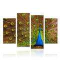 4 Pieces Peacock Painting HD Animal Feather Photography Canvas Wall Decor Living Room Combine painting/SJMT1949