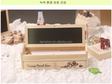 Wooden arts crafts DIY small blackboard multi-function pen / pencil box double-deck wooden box