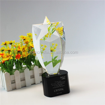 High quality blank clear crystal star award trophy as customzied corporate gifts