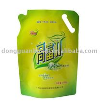liquid detergent standing pouch with handle and spout