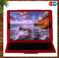 2016 new fashion bluetooth V3.0 wireless keyboard with PU leather protective case for iPad Pro - red color