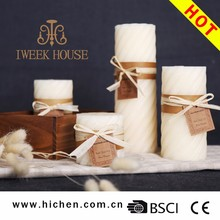 White Color 100% Paraffin Wax Customized Pillar Shape Scented Candles For Decoration