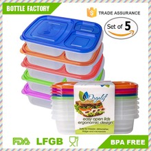 Amazon Kitchen china supplier 3-compartment Reusable Plastic Bento Lunch Box For Kids, Set of 5