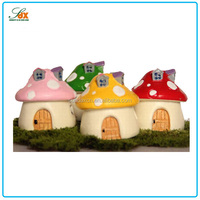 Cheap Resin Mini Mushroom House Figurines to Decorate Garden or Flowerpots or Pets House