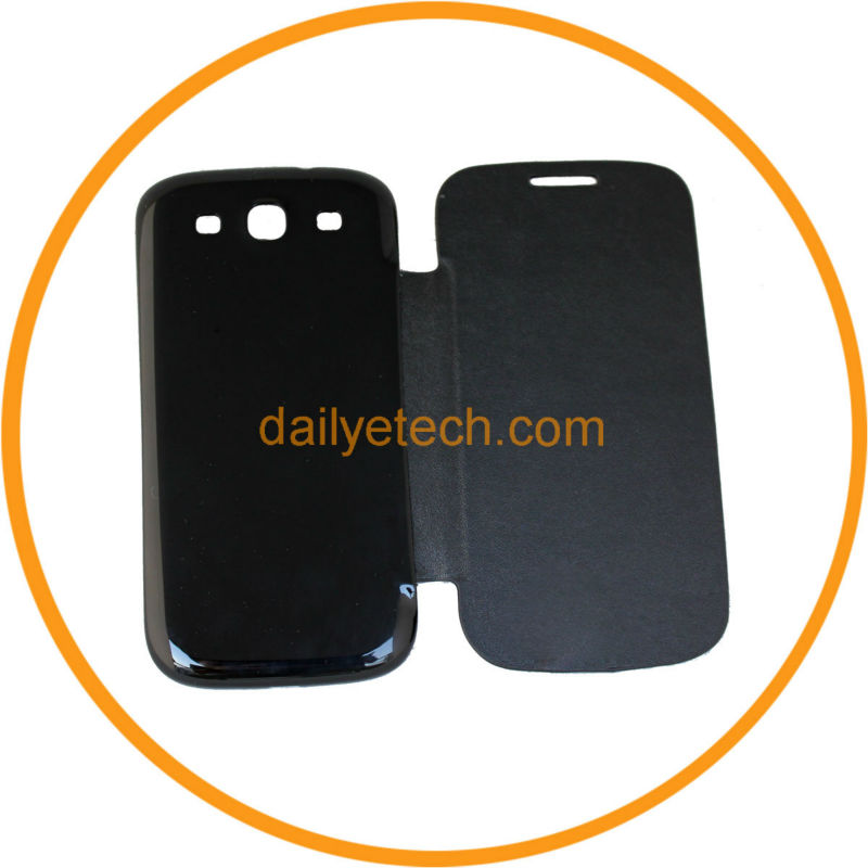 Black PU Leather Battery Flip Case Cover For Samsung Galaxy S3 SIII i9300