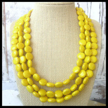 Yellow Turquoise Statement Necklace. Triple Strand Yellow Howlite Necklace. Yellow Bridesmaid necklace Jewelry