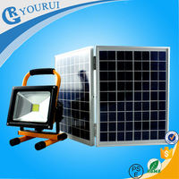 With replaceable battery pack - buckle style, 10w rechargeable solar led floodlight12v