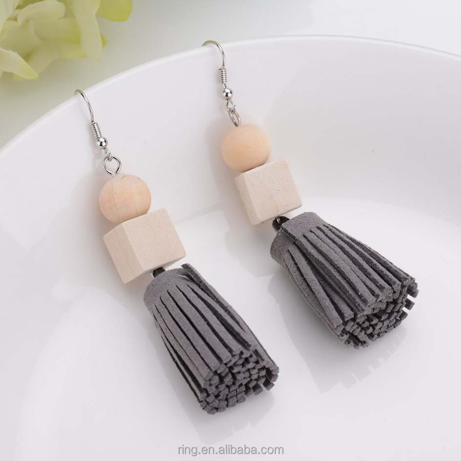 Beautiful designs for women wood bead charm leather tassel earring