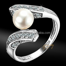 Professional Factory Wholesale value 925 silver ring with water fresh pearl