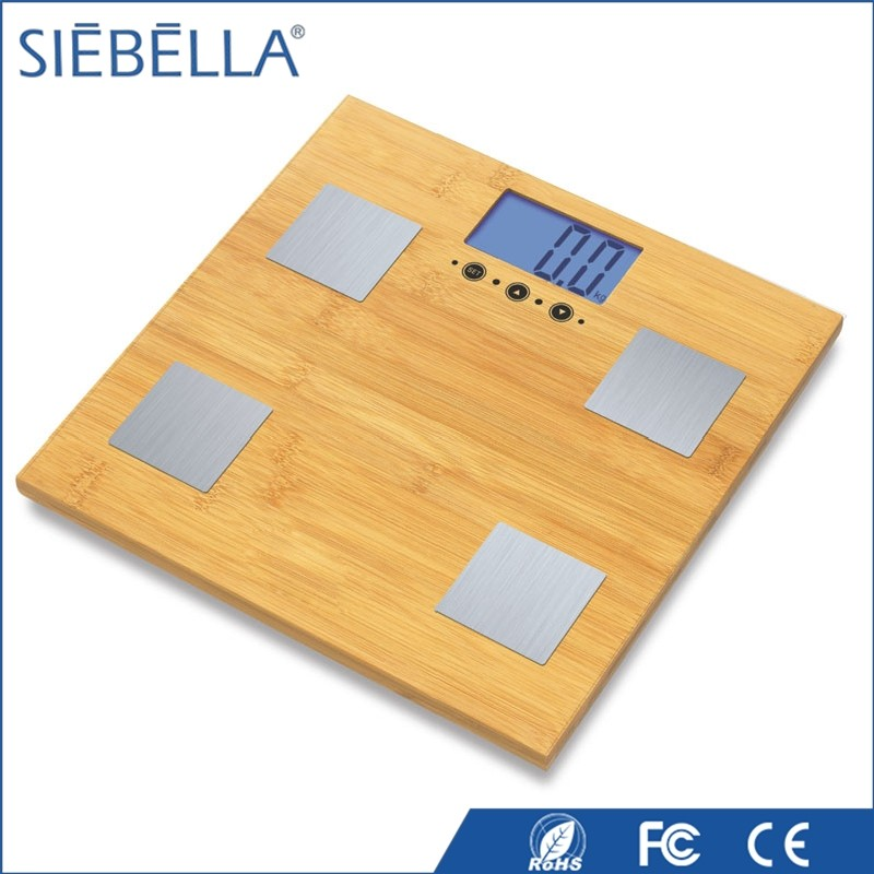 Custom shape printed bamboo body fat analysis machine with blue backlight function